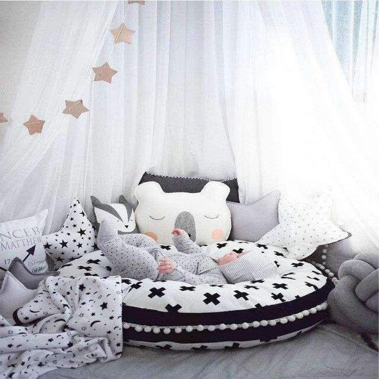 Baby Creeping Thicken Cross Pattern Pom Pom Decor Rug Mat Carpet