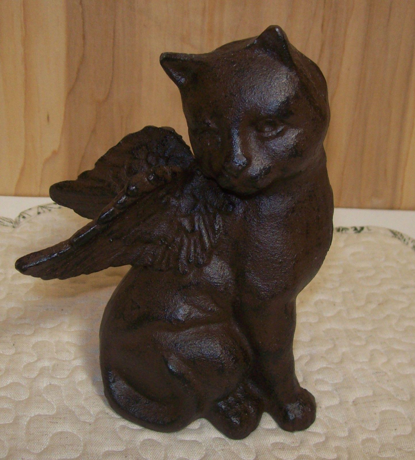 Cast Iron CAT With Wings Figurine Door Stop Garden Statue CAT Angel | EBay