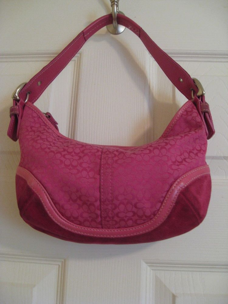 Authentic Hot Pink Coach Purse Small Hobo Bag Leather No G042 6351
