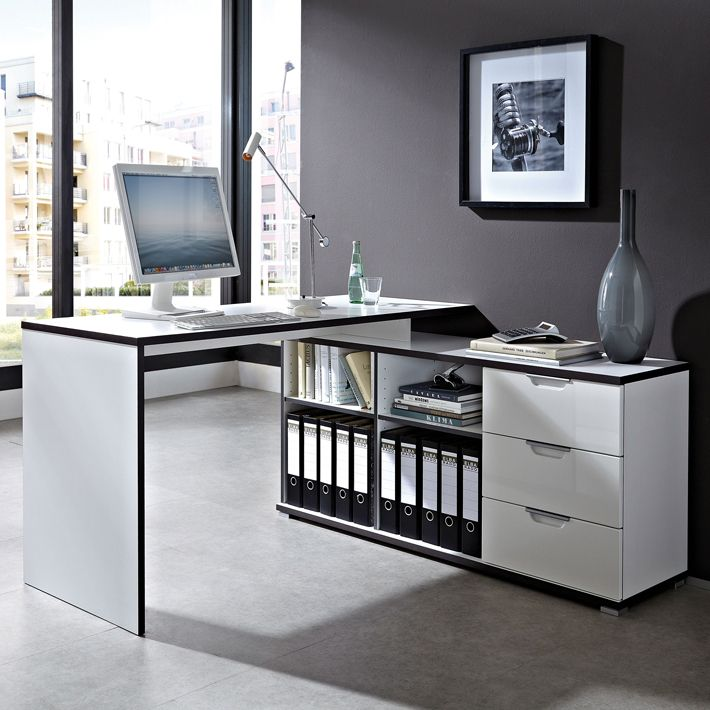 bureau d 39 angle design avec caisson area bureaux design noir et blanc office ideas. Black Bedroom Furniture Sets. Home Design Ideas