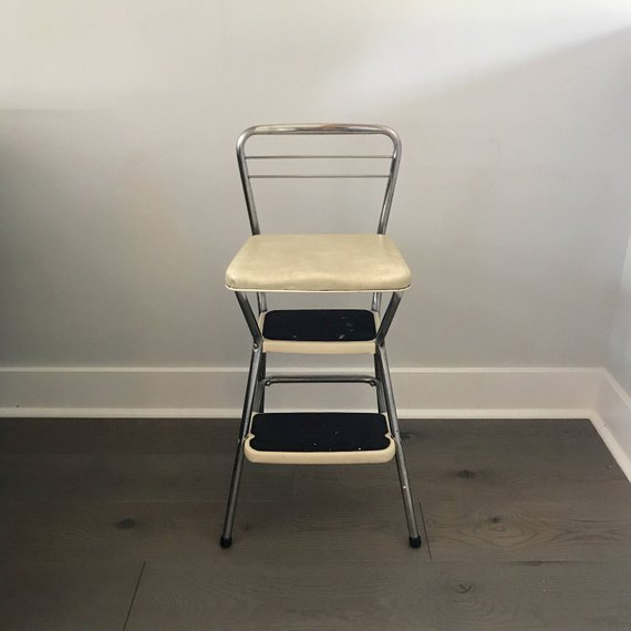 Vintage Cosco Step Stool, Kitchen Stool, Mid Century Step Stool , White  Vinyl Stool, Retro Step Stoo