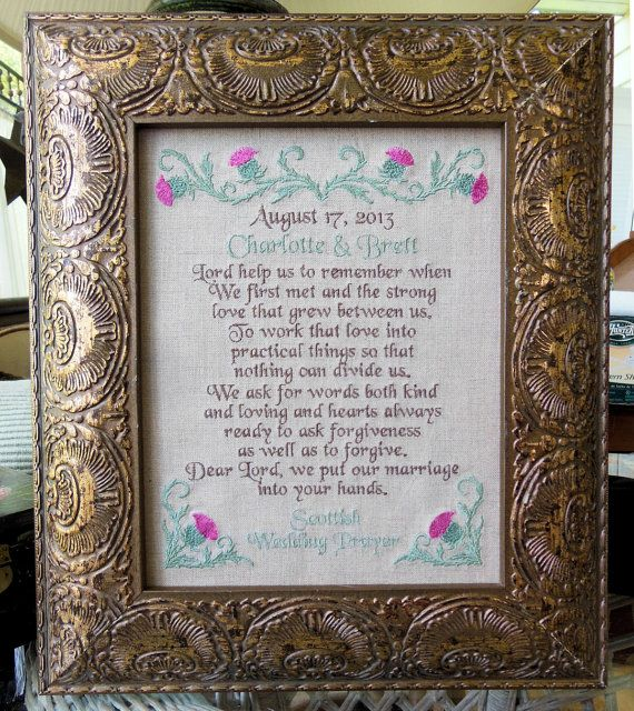 Scottish Wedding Gifts: Scottish Wedding Prayer Lord Help Us Remember By