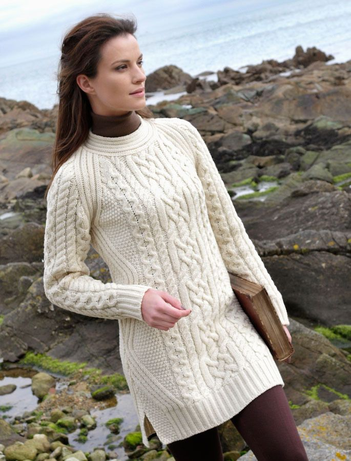 Aran Wool Sweater Dress / Long Tunic | Softness and Warmth ...