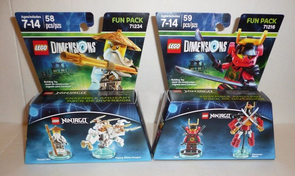 NINJAGO Lego Dimensions Fun Packs 71216 71234 Sensei Wu Dragon Nya ...