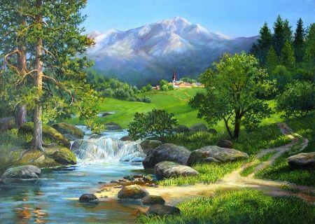 Beautiful Landscape Cascade Beautiful Colorful Outdoor Color Peaceful Nature Splendor Water Mountain Krajobraz Malarstwo Obrazy