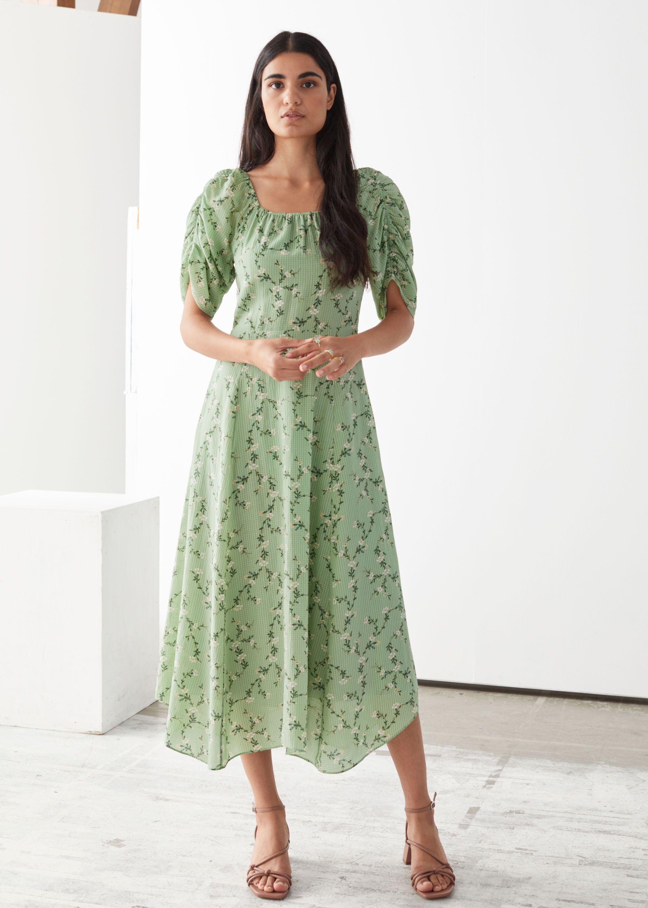 Rouched Sleeve Midi Dress Midi Dress With Sleeves Fashion Tops Blouse Midi Dress [ 2940 x 2100 Pixel ]