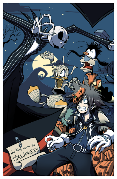 jack skellington donald duck goofy sora kingdom hearts halloween town - Roxas Halloween Town