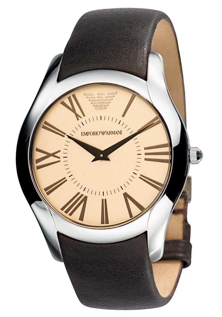 Emporio Armani Mens Champagne Dial Brown Leather Strap Super Slim Watch AR2041