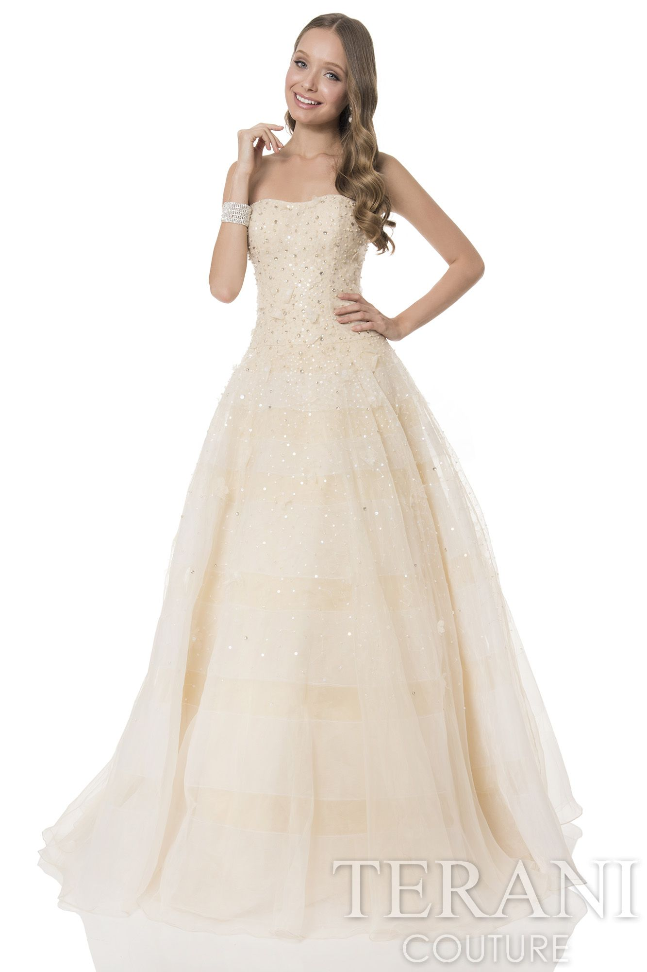 Strapless+organza+prom+gown+with+beaded+bustier+that+ombres+onto+a+ ...