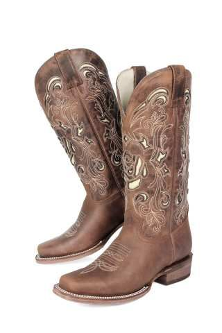 Women s Brown with Cream Rose Square Toe Boot. JB Dillon Reserve style  JBR6093 32ab33b88f