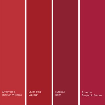 Red Paint Picks For Dining Rooms From Left To Right 1 Gypsy Sw6865 Sherwin Williams 2 Quite 1011 3 Valspar Luscious S G 130 Behr 4