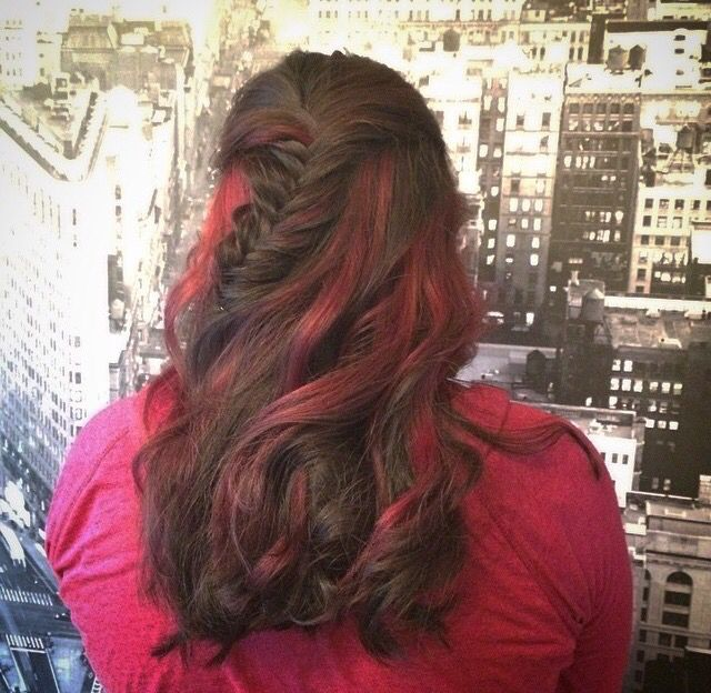 Bright Colors In An Ombre Red Highlights Curly Hair Braids My