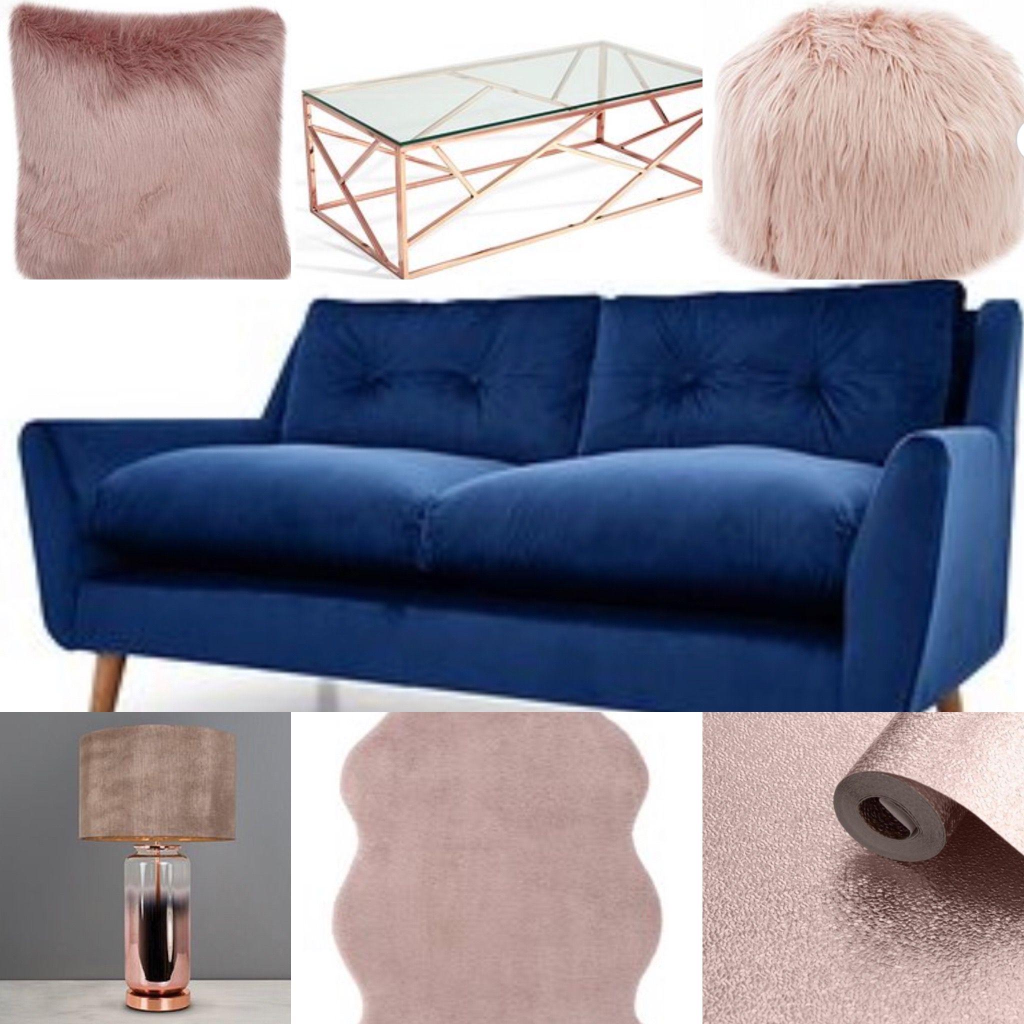 Navy Blush Rose Gold Living Room Idea Rose Gold Room Decor