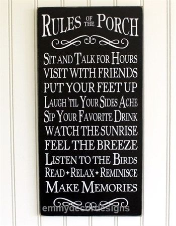 Porch Rules Sign Wall Art – Home Decor – Outdoor Living – Beach Cottage – Summer… #relaxingsummerporches
