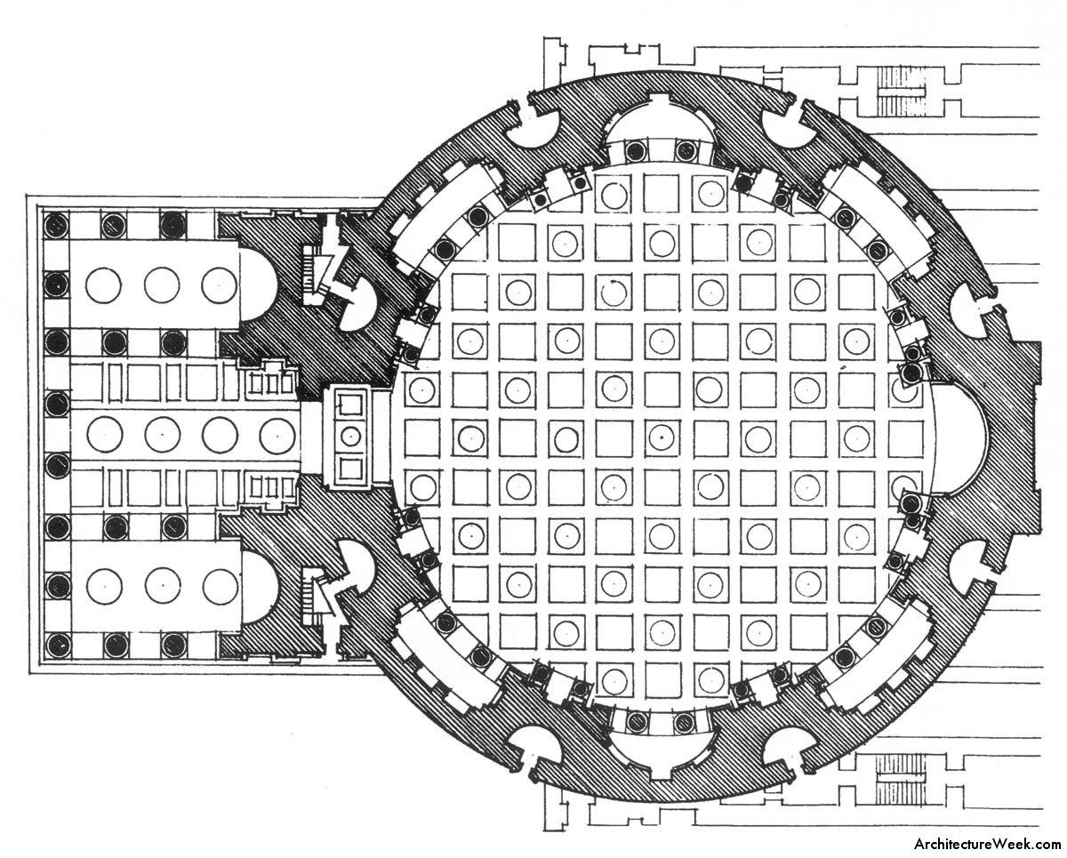Floor Plan Of The Pantheon Roman Architecture How To Plan Architecture Drawing