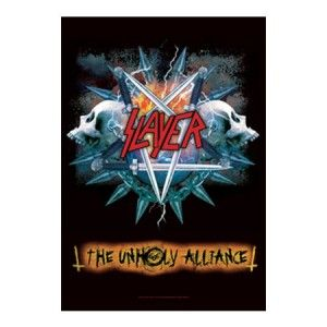 Slayer Unholy Alliance Fabric Poster - Rock out with this Slayer Unholy Alliance Fabric Poster! This product is a textile poster paying tribute to the band's 2004 and 2006 European and North American Unholy Alliance Tour. Poster measures 30 x 40.