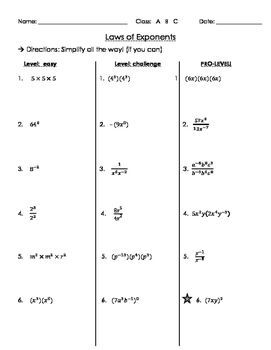Laws Of Exponents Levels Practice Exponents Exponent Worksheets Teaching Algebra