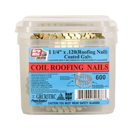 Grip Rite 1 1 4 Inch 15 Electro Galvanized Coil Roofing Nails Smooth Shank 600 Nails Per Tub By Grip Rite 11 96 Roofing Nails Vinyl Siding Roof Shingles