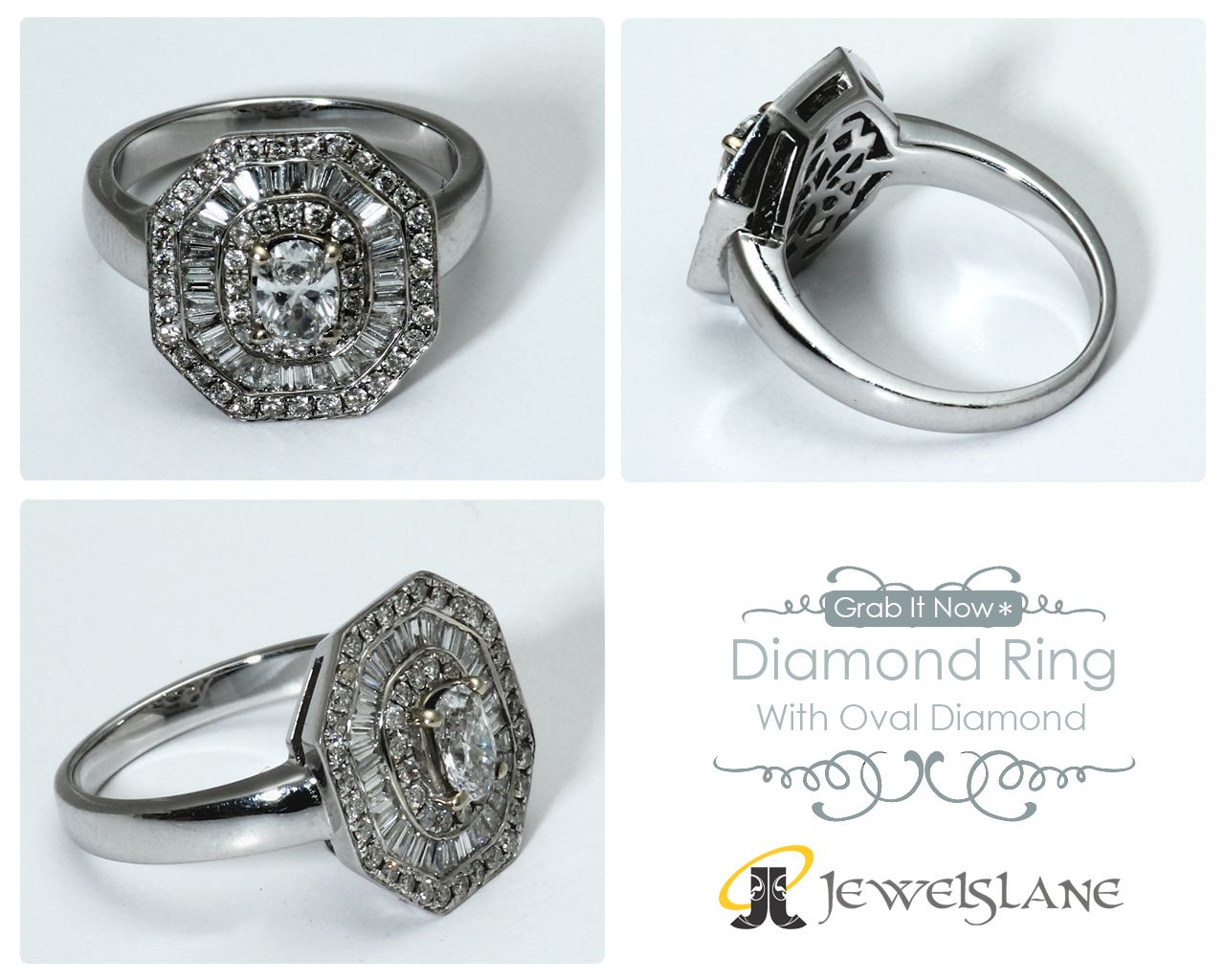 Octagon Shape Diamond Ring With 0 30 Carats Oval