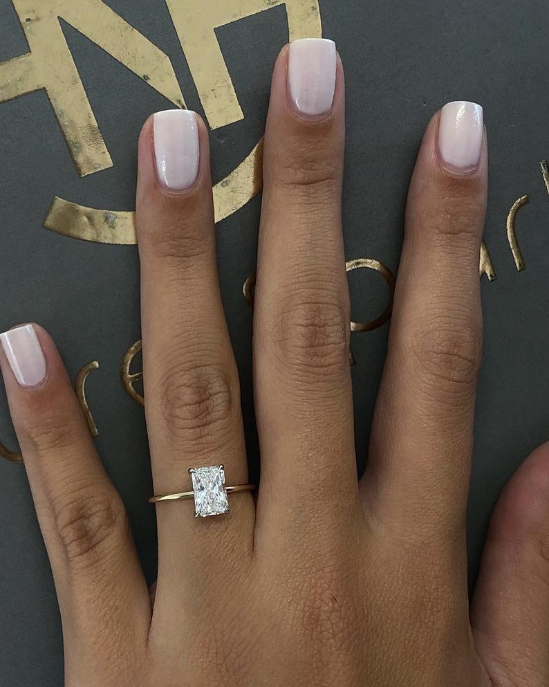1 Carat Diamond Engagement Ring, Solitaire Radiant
