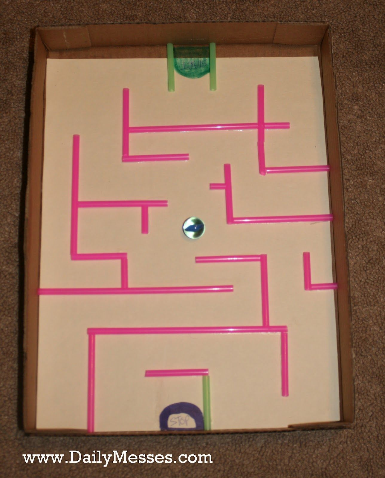 30 Shoe Box Craft Ideas: Daily Messes: It's A-Mazing: Shoe Box Lid Maze