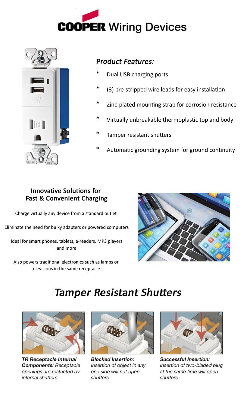 Eaton 15 Amp Decorator Usb Charging Electrical Outlet White Tamper Wiring Diagram For Cooper Devices 2 Pole Charger With Resistant Tr7740w K The Home Depot
