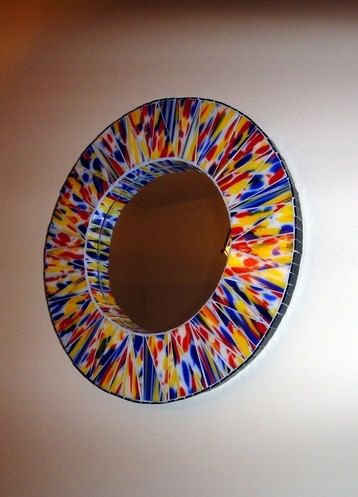 22 inch Multicolor Stained Glass Mosaic Mirror Speckled in Primary Colors. $450.00, via Etsy.