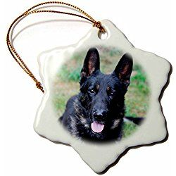 German Shepherd Snowflake Christmas Ornament Porcelain 3 Holiday Shapes German Shepherd Christmas Ornaments