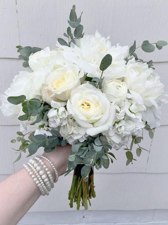 White Rose Hydrangea Eucalyptus Bridal Bouquet Bridesmaid Bouquet White White Wedding Flowers White Wedding Bouquets
