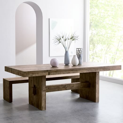 Emmerson Reclaimed Wood Expandable Dining Table H O M E - Expandable reclaimed wood dining table