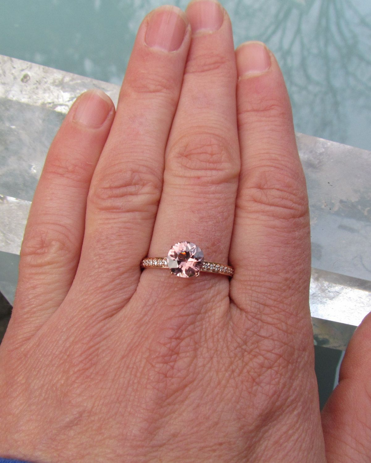 Peach Pink Spinel 14k Rose Gold Diamond Accented Engagement Ring ...