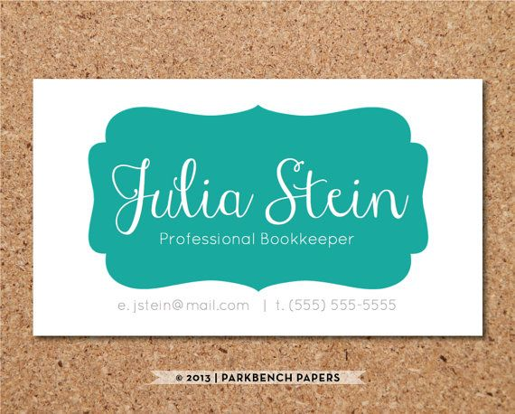 Business Card Template - Teal Frame- DIY Editable Word Template - card word template