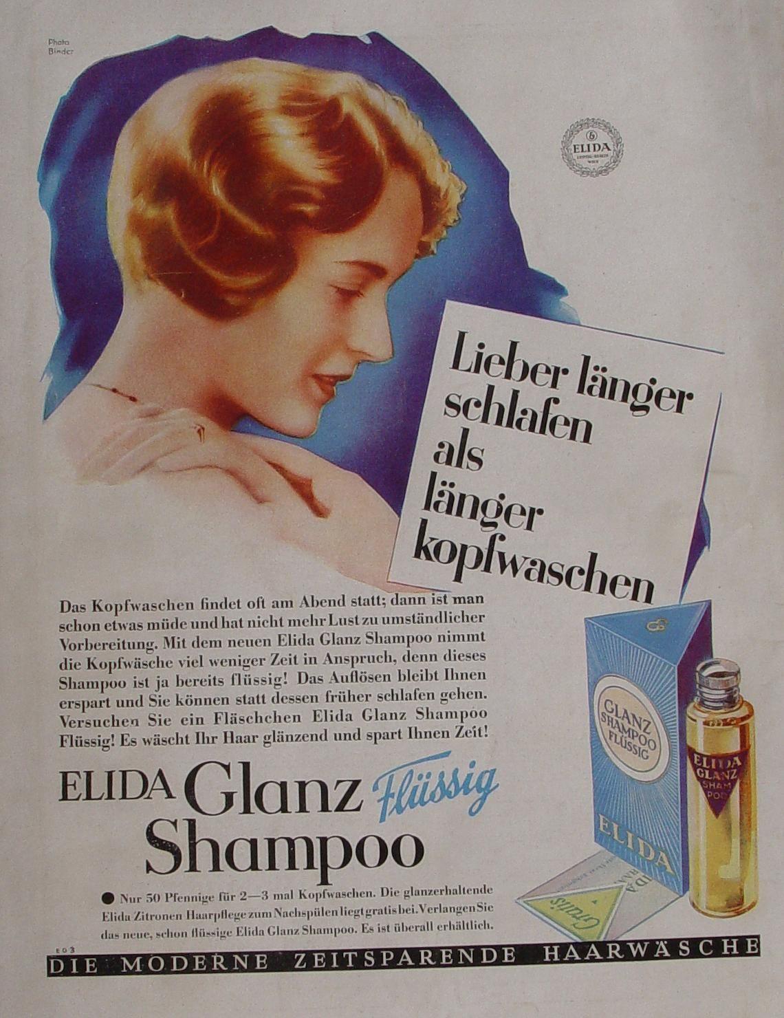reklame werbung elida shampoo haare frisur friseur bubikopf 1930