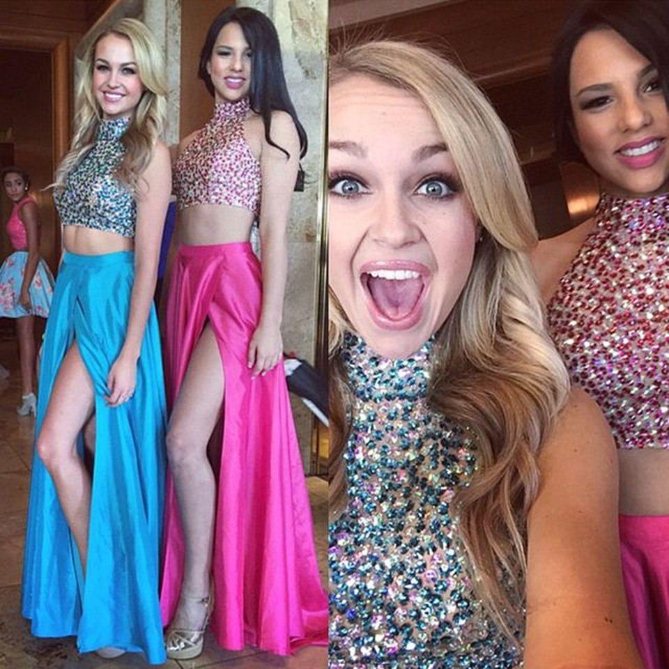 Sparkly Crystals Zweiteiler Prom Dresses Sexy Mädchen Halter Fuchsia ...