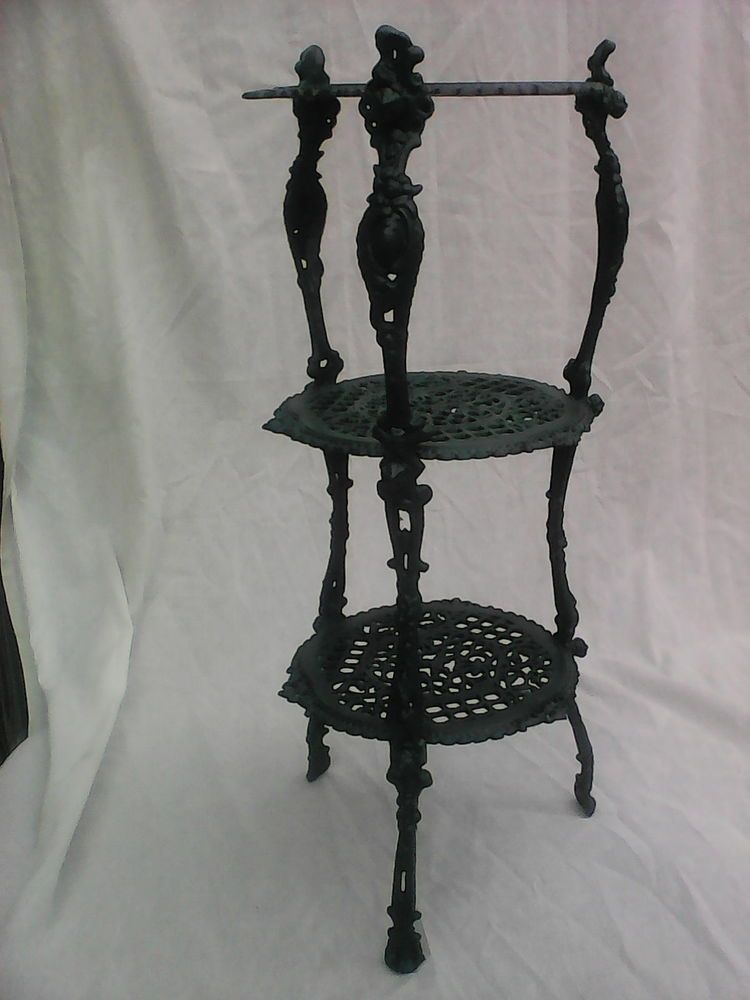 Victorian Dark Green Cast Iron 3 Tiered Plant Stand Wrought