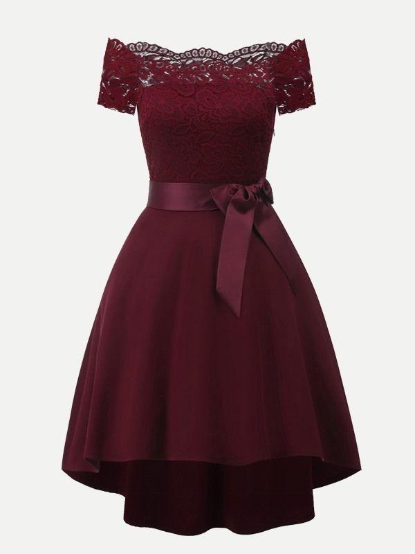 Vestido En 2019 Vestidos Color Vino Cortos Vestidos Color