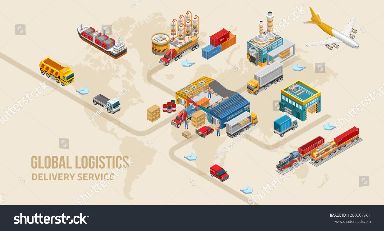 Isometric warehouse and logistics set of freight vessels