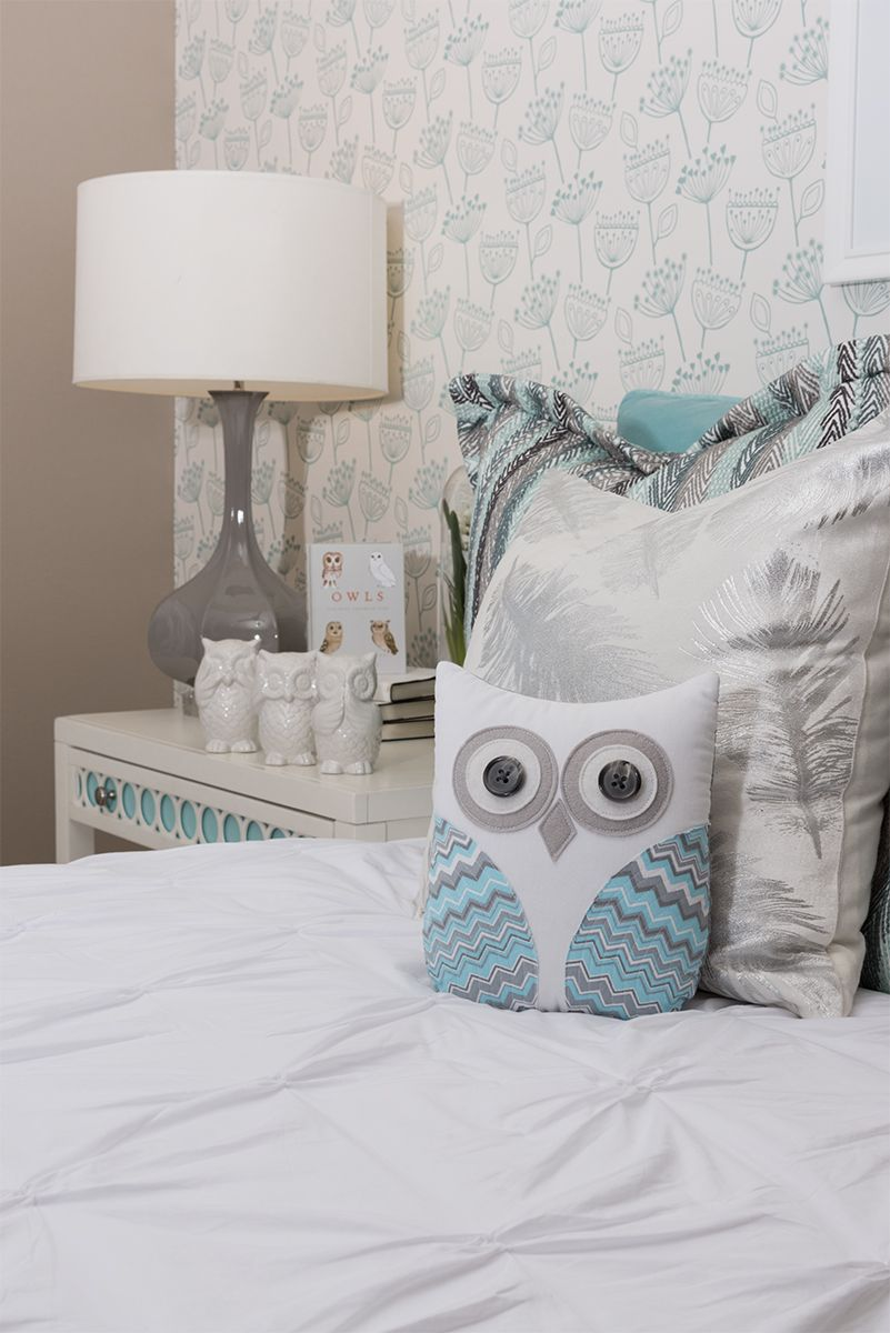 Gray And Pale Blue Bedroom With Whimsical Owl Accessories | Paige Model  Home In Wildomar |