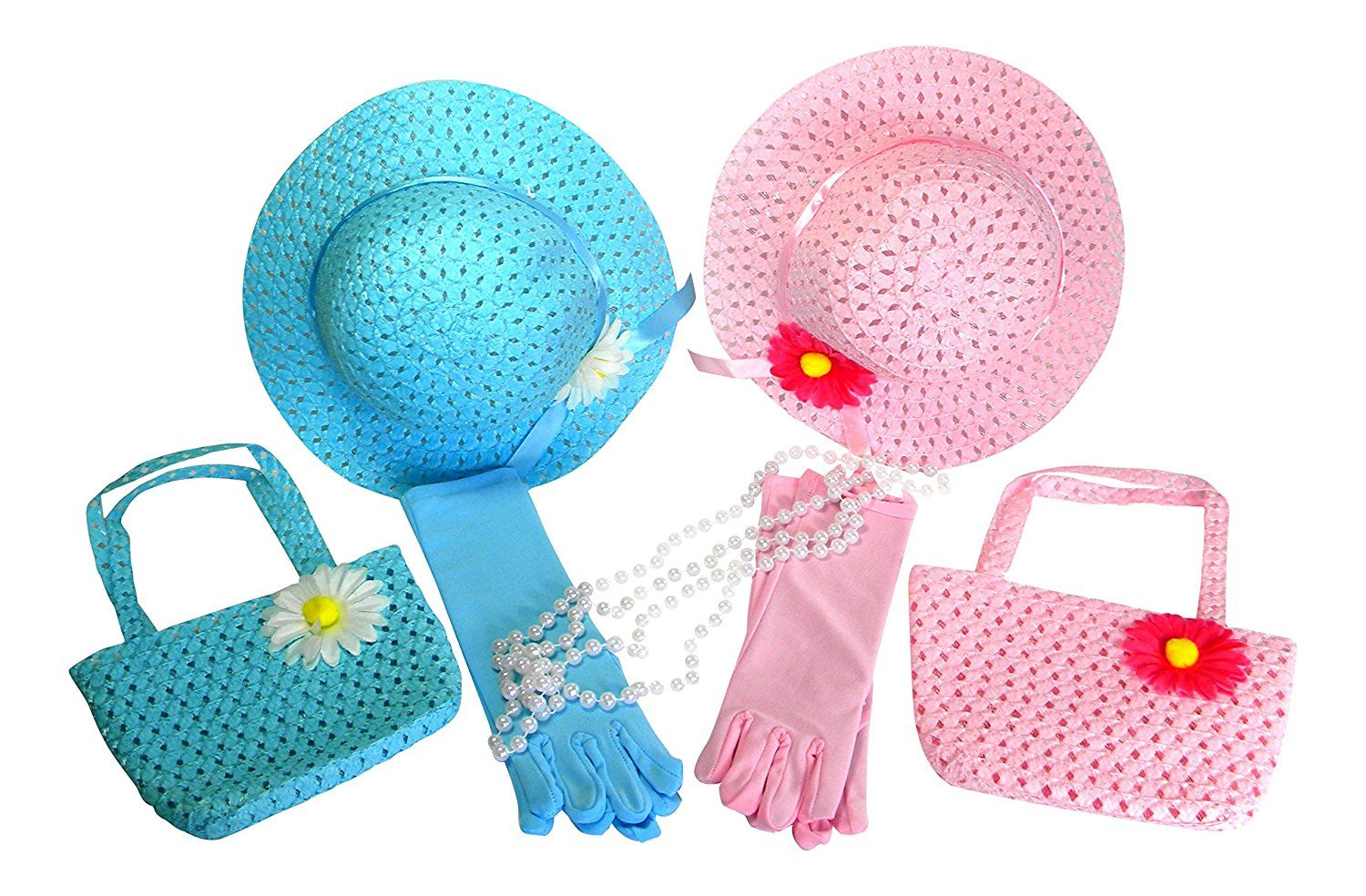 Amazon.com: Girls Tea Party Dress Up Play Set For 2 with Sun Hats ...