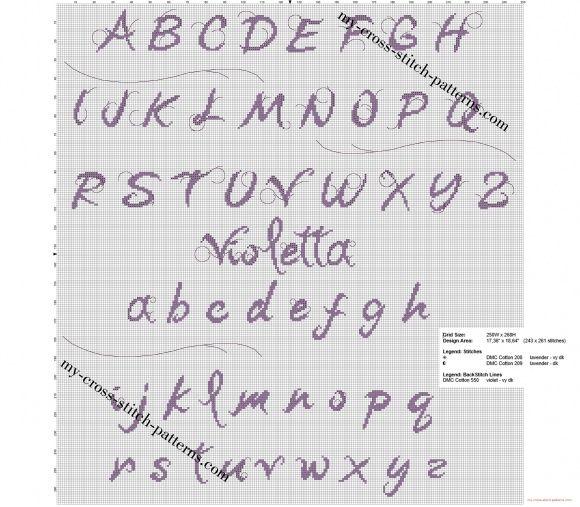 Disney violetta free cross stitch font alphabet cross - Grille point de croix lettre ...
