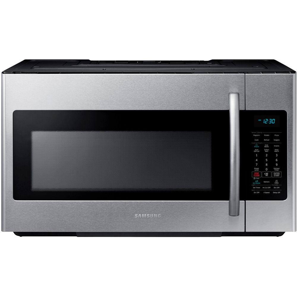 Samsung 30 In W 1 8 Cu Ft Over The Range Microwave In Stainless Steel With Sensor Cooking Me18h7 Samsung Microwave Stainless Steel Microwave Range Microwave