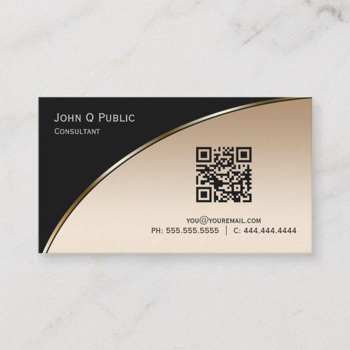 Elegant Professional Modern Black Gold Qr Business Card Zazzle Com Modern Black Lighting Professional Business Cards Business Cards