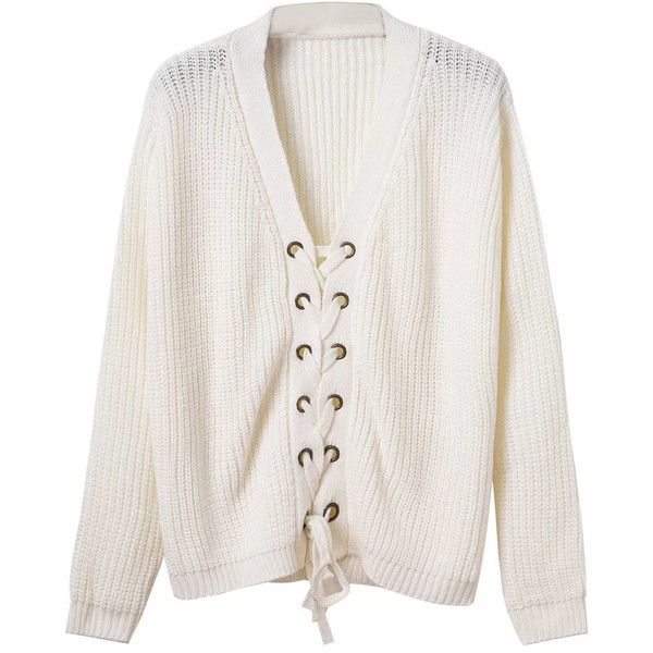 0d107f2b0f7b White Plunge V-neck Lace Up Front Long Sleeve Knit Jumper (£30) ❤ liked on  Polyvore featuring tops