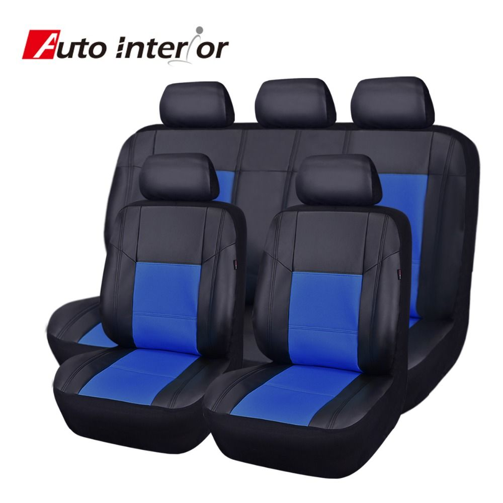 cheapest full set pu leather car seat cover universal red blue beige auto chair covers car. Black Bedroom Furniture Sets. Home Design Ideas