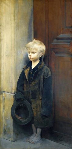Fernand Pelez (French painter) 1843 - 1913, Petit Misère ou Mendiant au Chapeau (Misery or Little Beggar), s.d., oil on canvas 156.5 x 78.5 cm. (61 1/2 x 31 in.), signed lower right Pelez, private collection