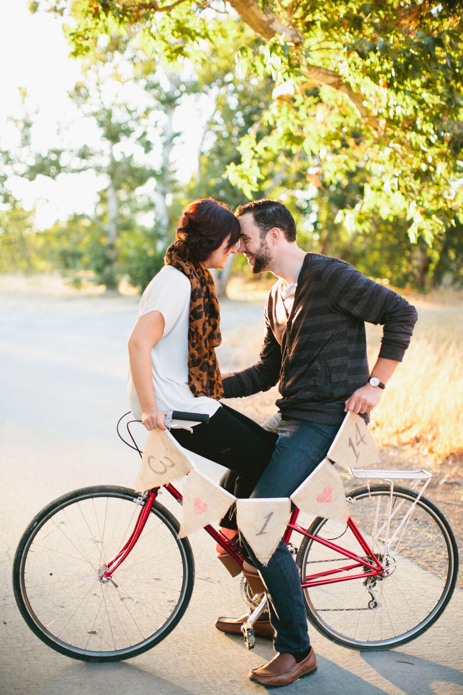 Red Vintage Bike Save The Date Banner Engagement Bike