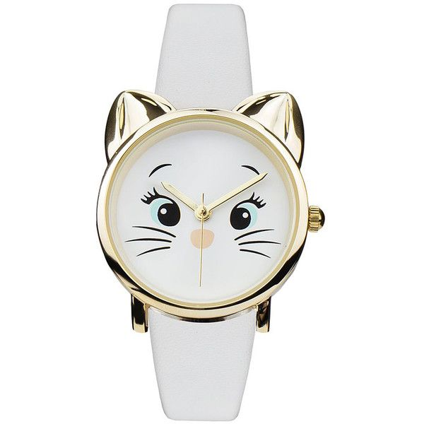 b500cd03591 Geneva Platinum White Cat Faux Leather-Strap Watch ( 15) ❤ liked on  Polyvore. Bijuterias De GatoRelógios GenevaRelógios BrancosRelógios  AnalógicosRelógio ...
