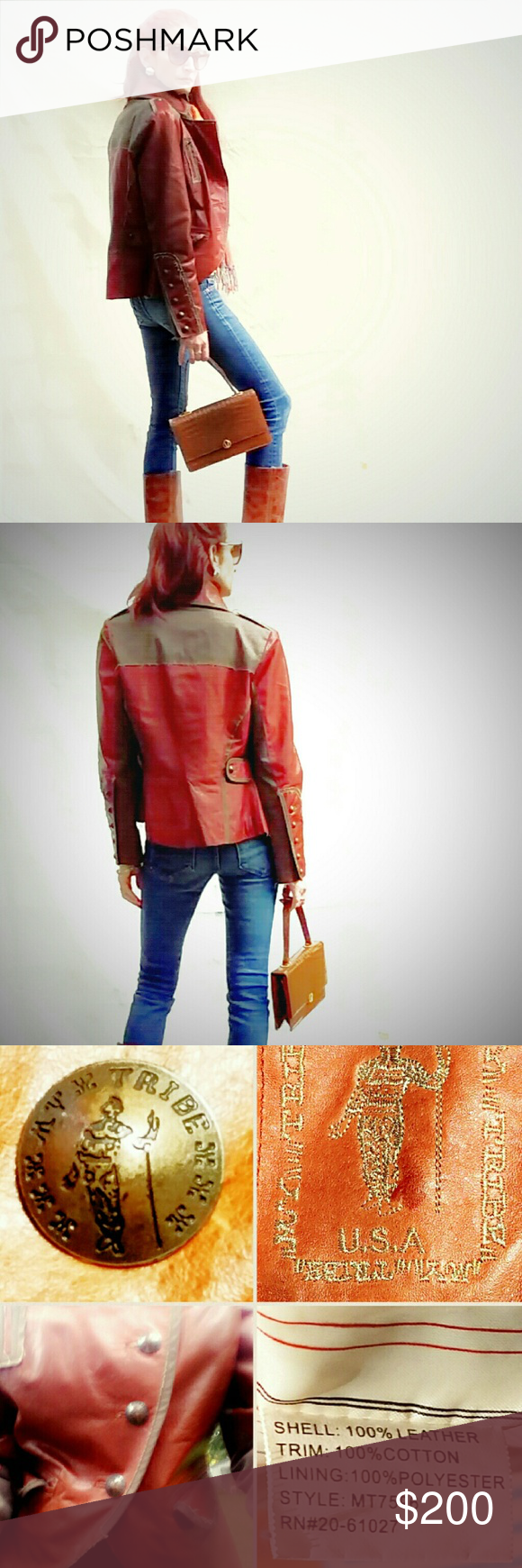 """My Tribe Rust Leather Moto/Military Jacket My Tribe Rust Leather Moto/Military Jacket. This killer leather moto/military jacket is detailed with raw-edged fabric piping, metal buttons, and a super slick lining.  It's in perfect condition & ready to rock! Bust measures 18"""" laying flat and buttoned; length is approx 23."""" My Tribe Jackets & Coats"""