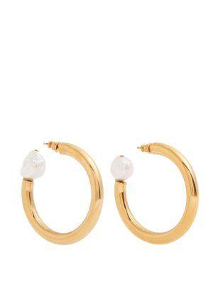 Loop Earrings with a Pearl in Gold Brass and Pearl Sonia Rykiel 8kkCUi8