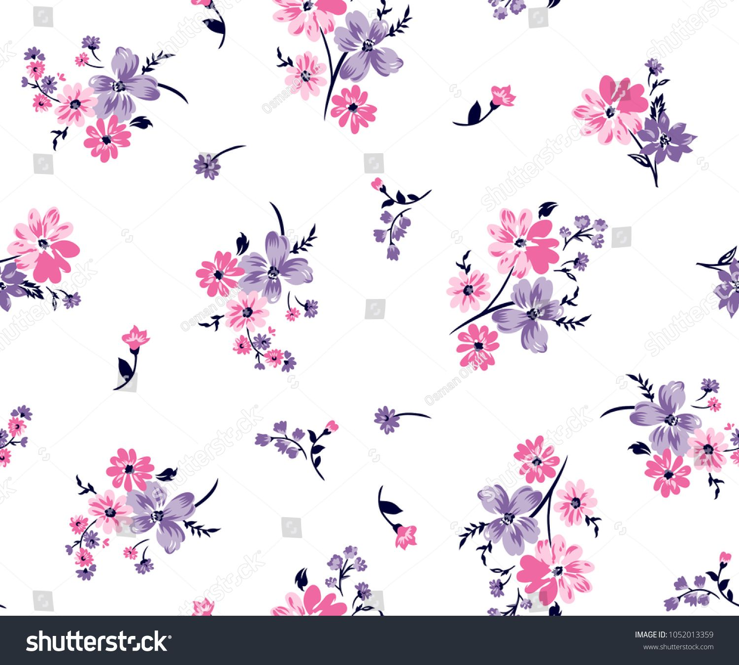 Floral Bouquet Vector Pattern With Small Flowers And Leaves Sponsored Sponsored Vector Bouquet Fl Flower Print Pattern Small Flower Bouquet Small Flowers